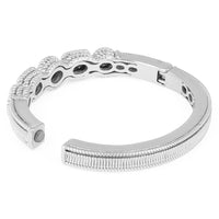 Pavé Crystal Rhinestones Circle & Rectangle Silver Tone Oval Bangle