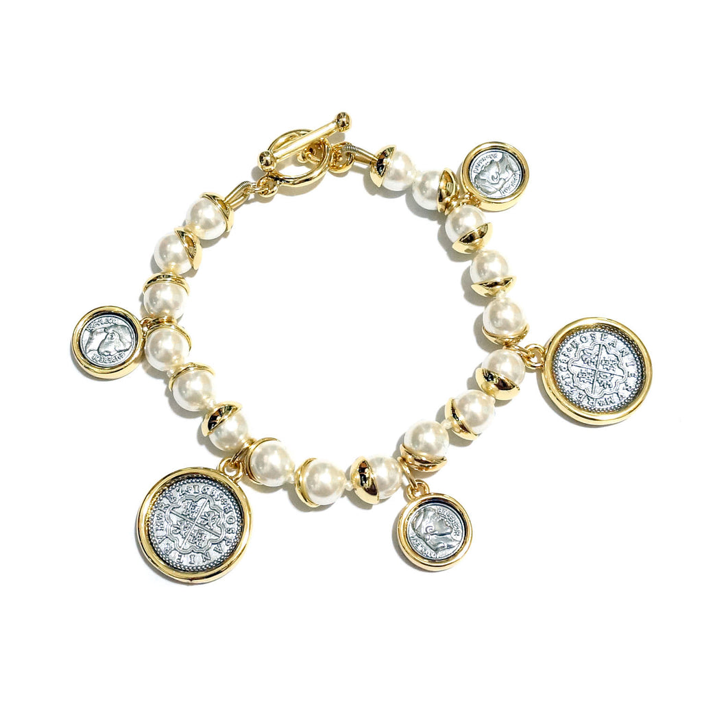 Spanish Coin Design Charms Faux Pearl Bracelet
