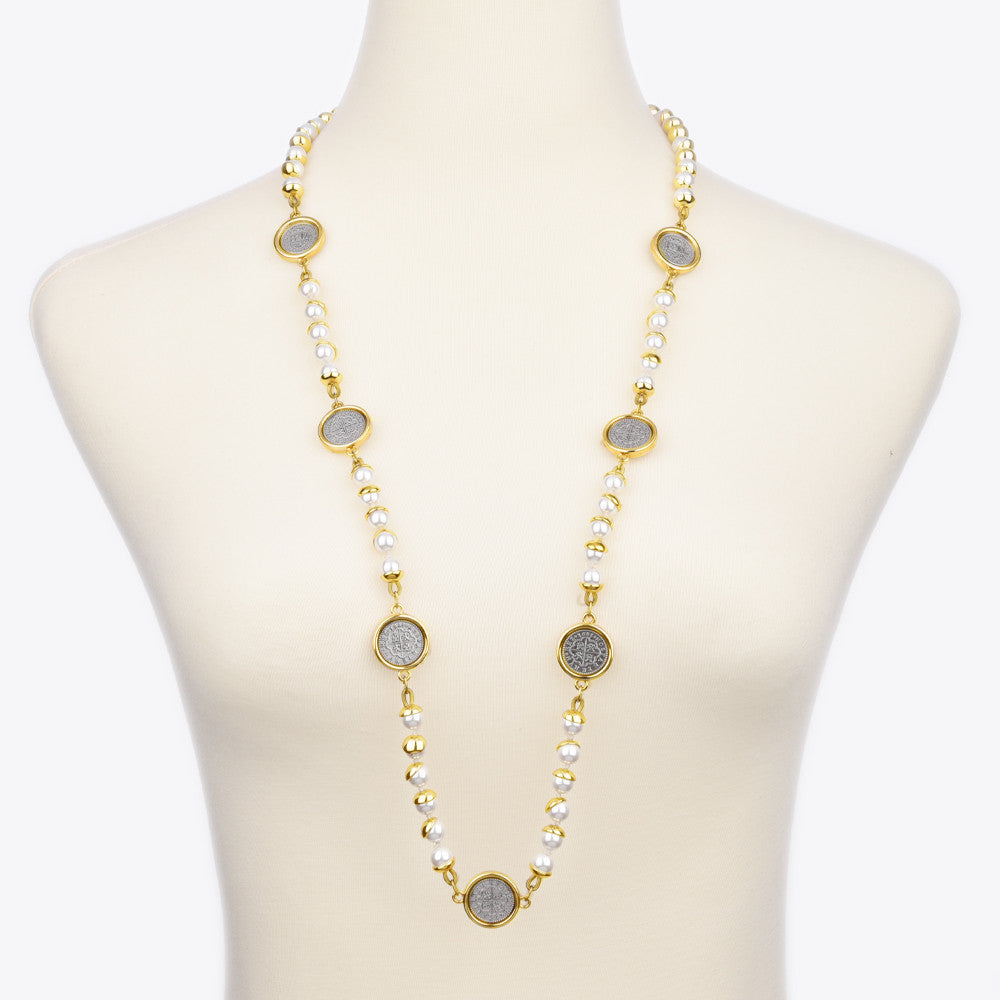 nk product stone faux gd lg strand chanel pearl necklace long blk black cc gold