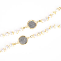Spanish Coin Design Charms Faux Pearl Necklace