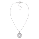 Clear Cubic Zirconia Octagon Pendant Necklace