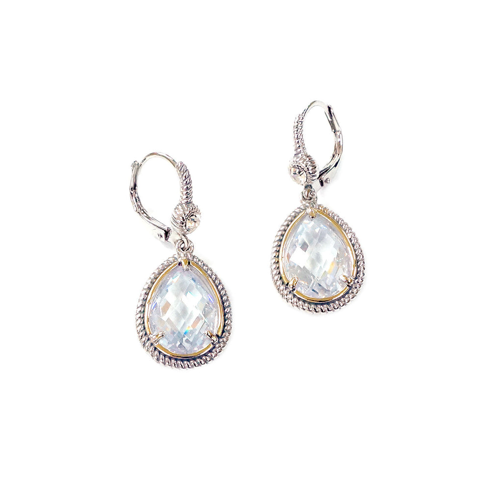 Teardrop Chess Cut Clear CZ with Rope Pattern Dangle Earrings