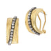 Gold Tone and Hematite Crystal Rhinestone Half Hoop Earrings