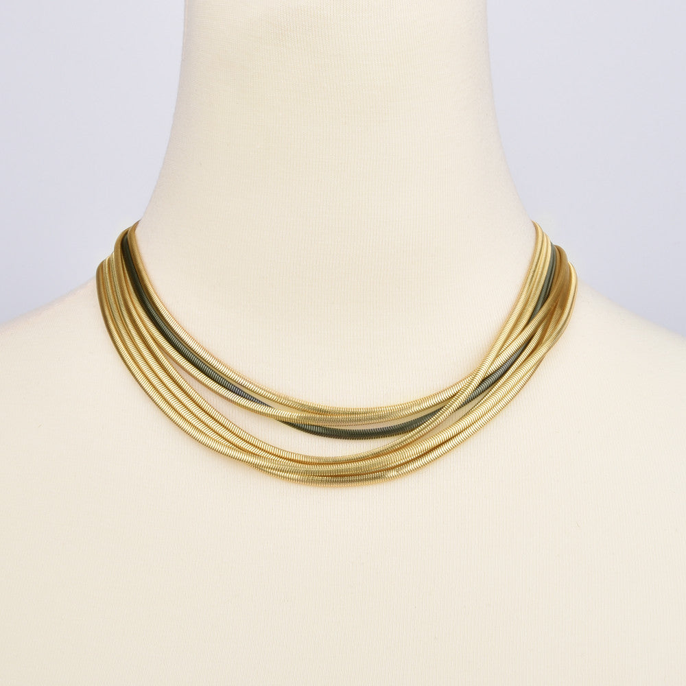 Multi Strand Snake Chain Two Tone Necklace