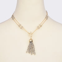 Faceted Crystal Beads  Reversible Tassel Necklace