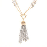 Faceted Black Diamond Crystal Beads  Reversible Tassel Necklace