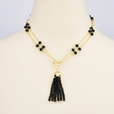 Black Jet Rhinestones Reversible Tassel Necklace