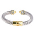 Two Tone Rope Design Open Cuff Bangle