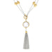 Clear Cubic Zirconia with Gold Tone Pebbles Reversible Tassel Necklace