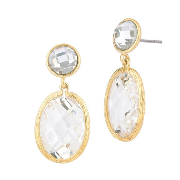 Oval Clear Cubic Zirconia Gold Tone Dangling Earrings