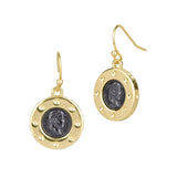 Faux Emperor Napoleon Coin Dangling Two Tone Earrings