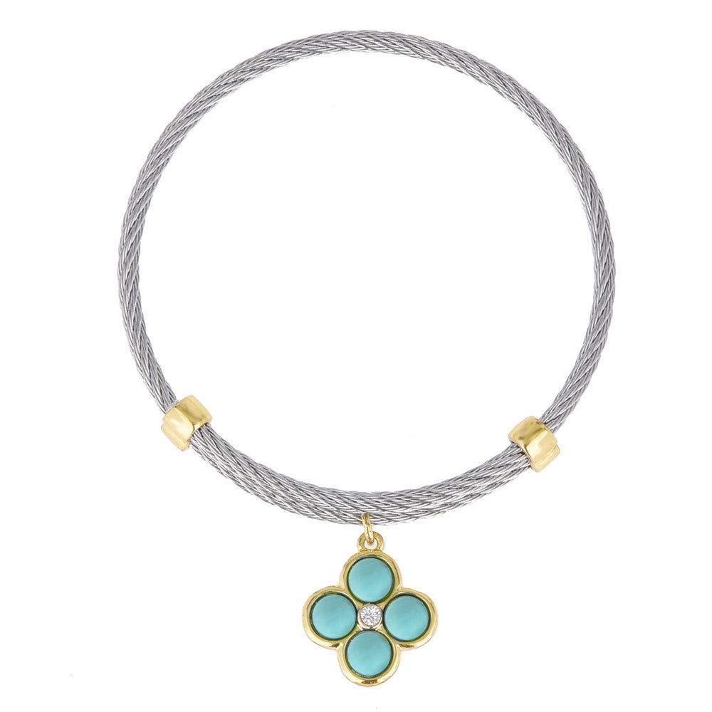 Reconstituted Turquoise Clover Charm Adjustable Bangle