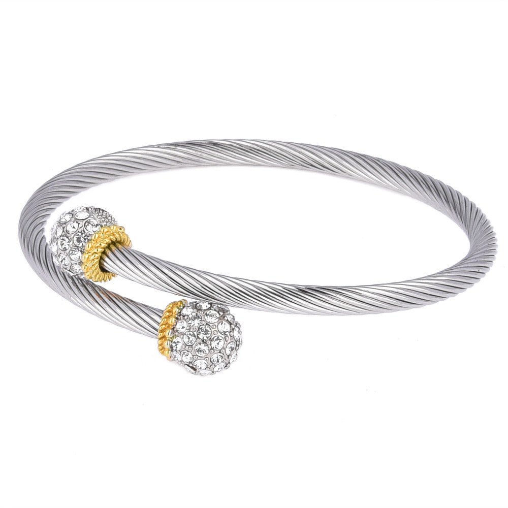 Pavé Crystal Rhinestone Ball Two Tone Bypass Bangle