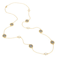 Imitation Emperor Napoleon Coin with Dots & CZ Long Strand Necklace