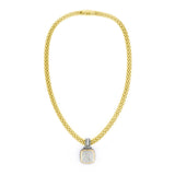 Square Pavé Crystal Rhinestone Two Tone Pendant Necklace