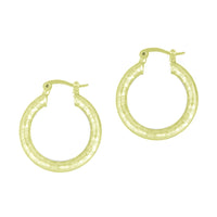 Gold Tone Textured Hoop Earrings
