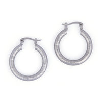 Silver Tone Textured Hoop Earrings