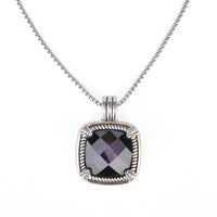 Square Chess Cut Cubic Zirconia Two Tone Pendant Necklace