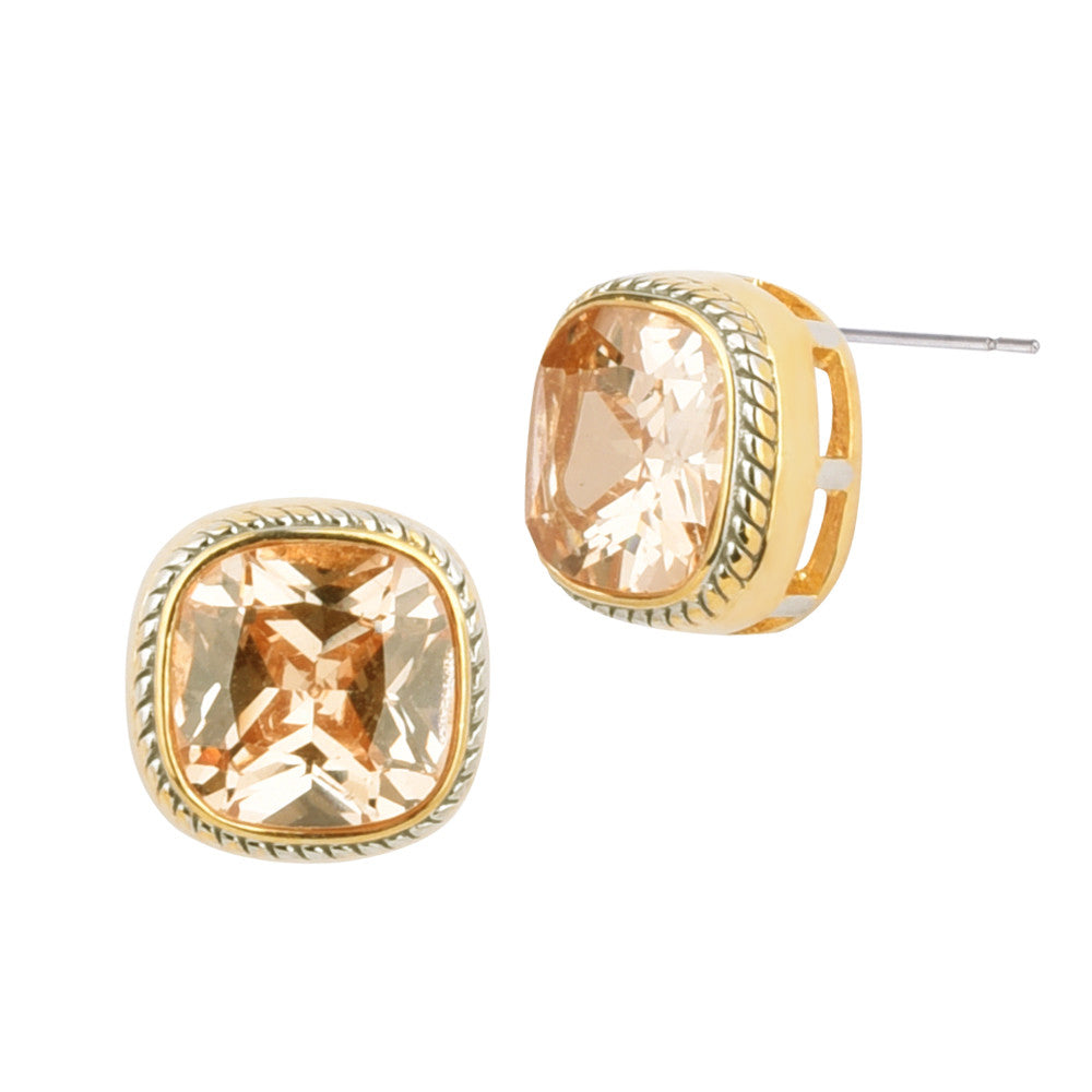 Square Champagne Cubic Zirconia Two Tone Bezel Stud Earrings