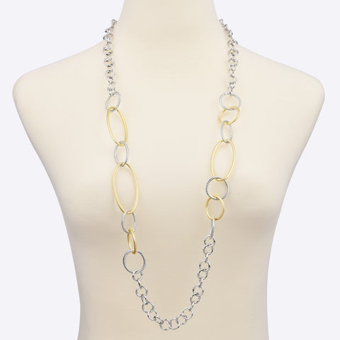 Circle & Oval Links Two Tone Long Strand Necklace