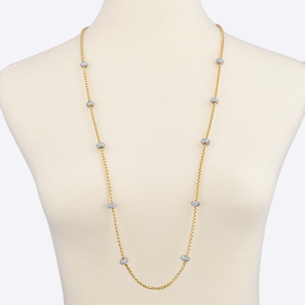 Gold Tone Box Chain with Pavé Crystal Rhinestone Rings Long Necklace 36""