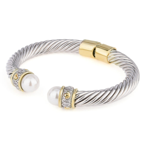 Faux Pearl Two Tone Rope Open Cuff Hinged Bangle
