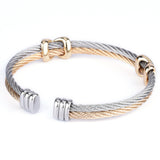 Twisted Wire Cross Pattern Two Tone Cuff Bangle