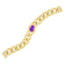 Matte Gold Brushed Textured Curb Links Oval Amethyst CZ Bracelet