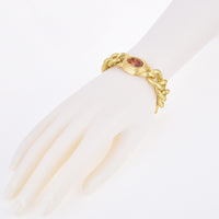 Matte Gold Brushed Textured Curb Links Oval Cubic Zirconia Bracelet