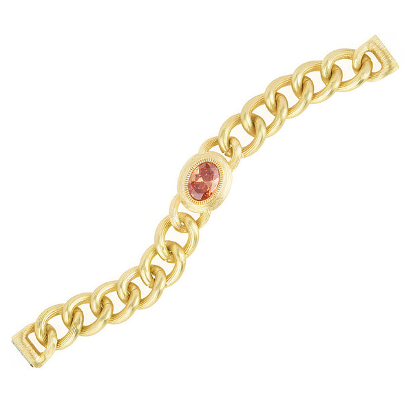 Matte Gold Brushed Textured Curb Links Oval Champagne CZ Bracelet