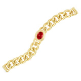 Matte Gold Brushed Textured Curb Links Oval Garnet CZ Bracelet