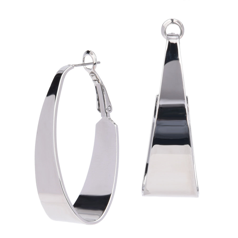 Wide Oval Silver Tone Hoop Earrings