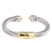 Silver & Gold Tone Rope Open Cuff Hinged Bangle