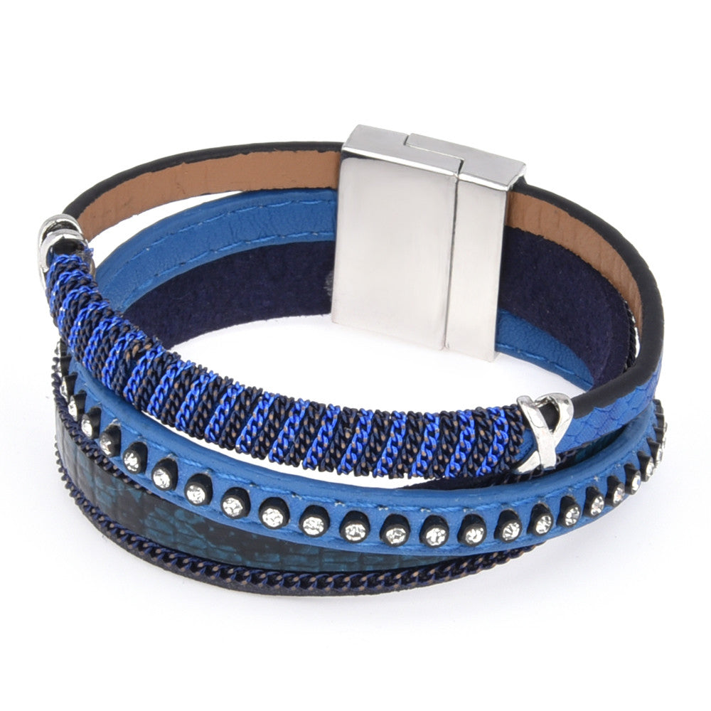 Genuine Blue Leather Wrap Bracelet