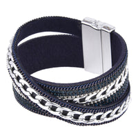 Curb Links & Rhinestones Leather Bracelet