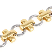 Cross with Circle Links Two Tone Toggle Bracelet