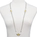 Imitation Pearls with Hammered Circle & Oval Long Strand Necklace 36""