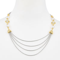 Faux Pearl & Gold Tone Starburst Flower Multi Layered Chain Necklace