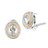 Oval Clear Cubic Zirconia Two Tone French Clip Earrings