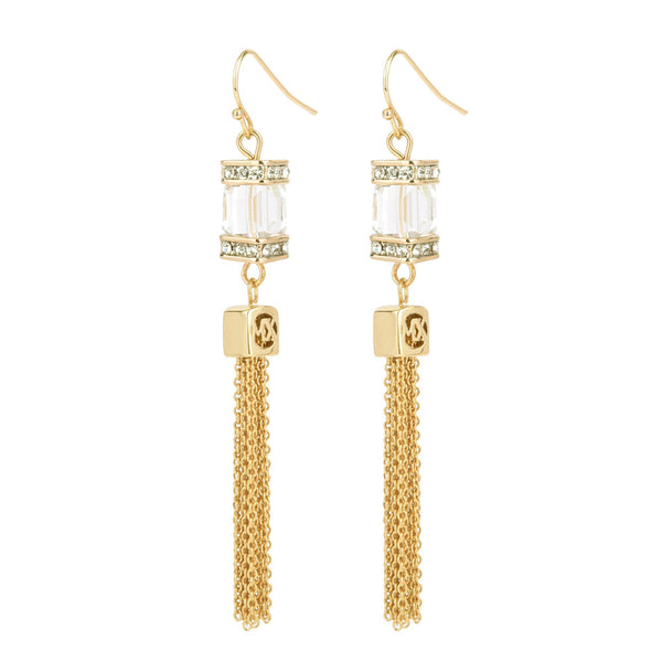 Crystal Faceted Cube with Tassels Gold Tone Dangling Earrings