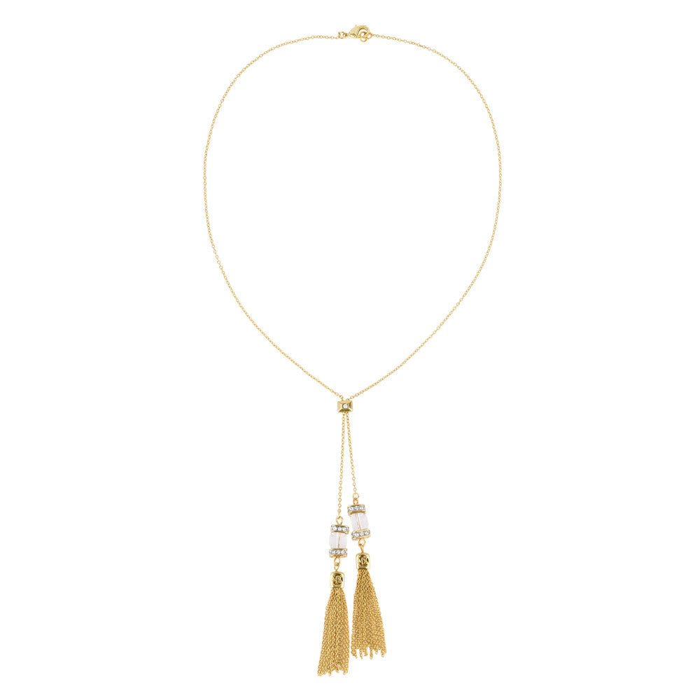 Crystal Faceted Cube with Tassels Gold Tone Lariat Necklace