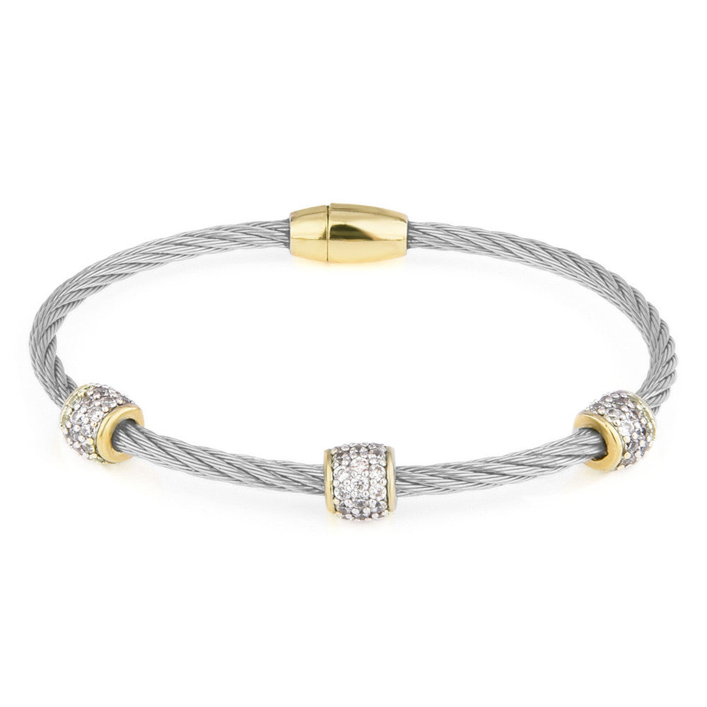 Pavé Clear Cubic Zirconia Triple Barrel Twisted Wire Bangle