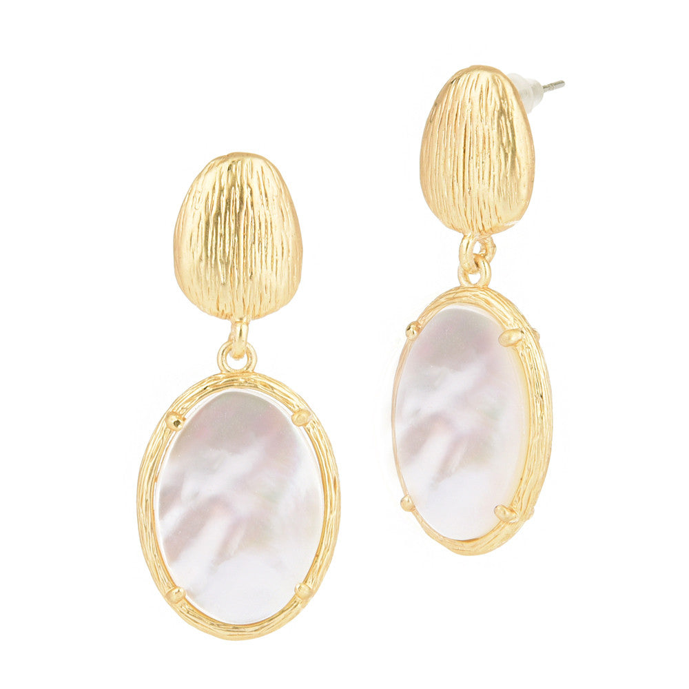 Dangling Oval Mother of Pearl Gold Tone Brushed Pebble Earrings