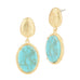 Dangling Oval Turquoise Gold Tone Brushed Pebble Earrings