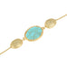 Gold Tone Brushed Pebble Oval Opaque Stone Long Necklace 36""