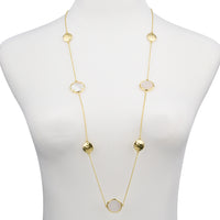 Gold Tone Hammered Pebble Round Opaque Stone Long Necklace 36""