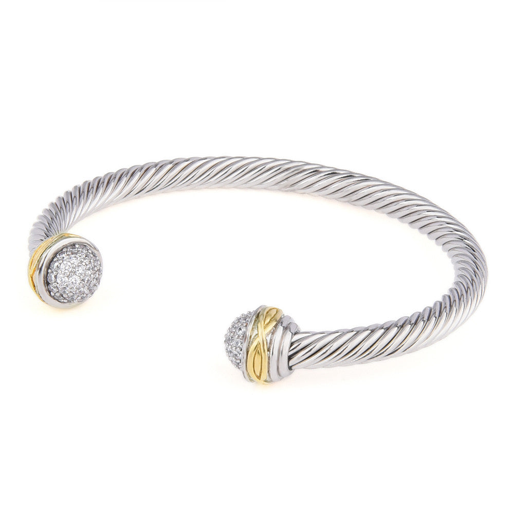 Micro Pavé Cubic Zirconia Open Rope Bangle