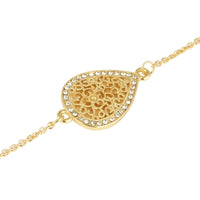 Crystal Rhinestones Filigree Teardrop Gold Tone Long Strand Necklace 36""