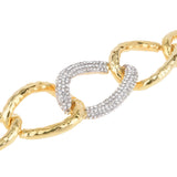 Large Curb Links with Pavé Crystal Rhinestones Toggle Bracelet