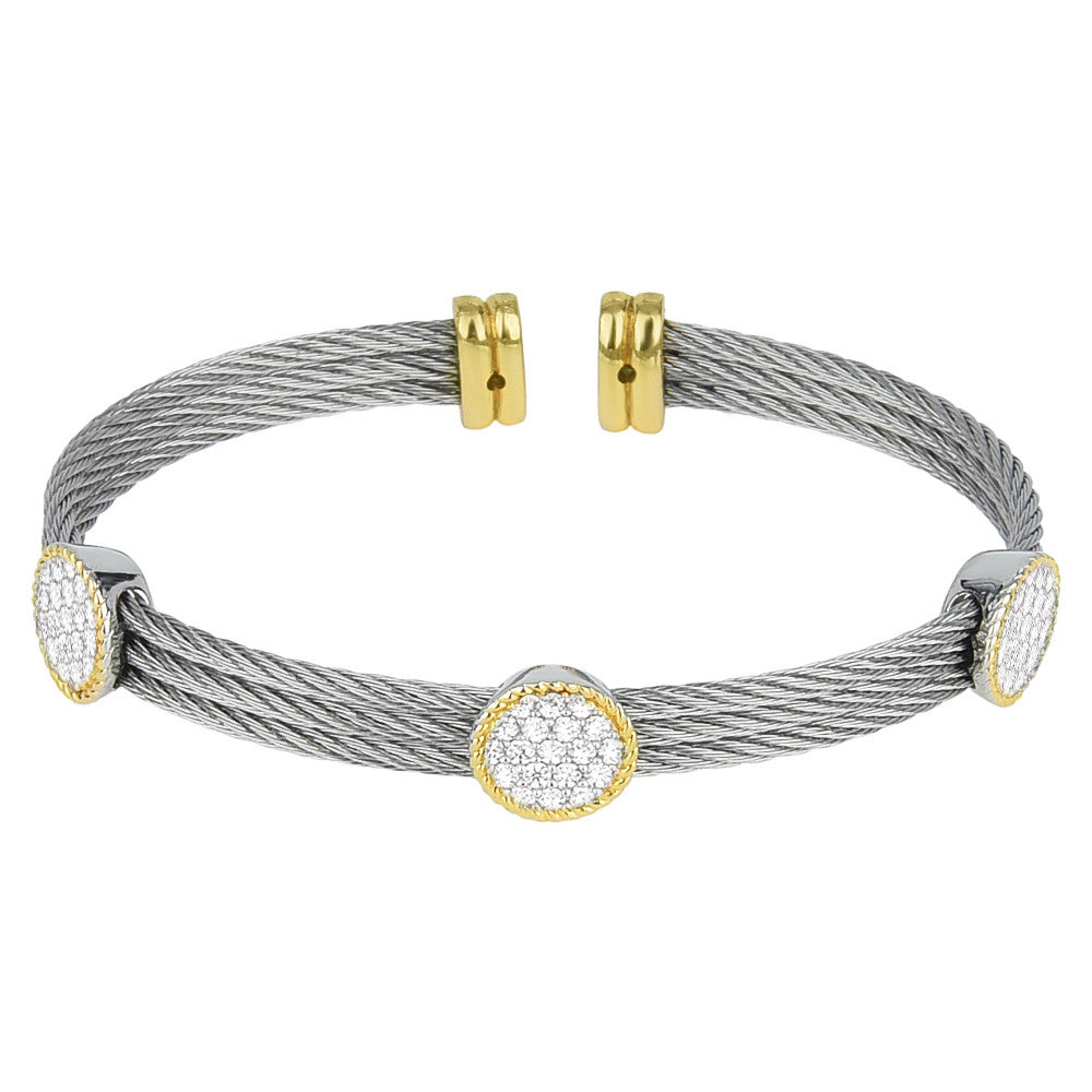 Pavé Cubic Zirconia Circles Triple Row Open Cuff Bangle
